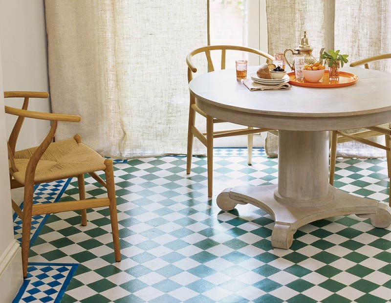 small sized breakfast nook idea classic Moroccan tiles in green white colors light & neutral dining furnishings