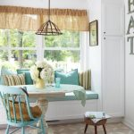 Spring Feel Breakfast Nook Built In Bench Seat In White Narrow Corner Cabinet In White Round Top Table Blue Chair Minimalist Pendant