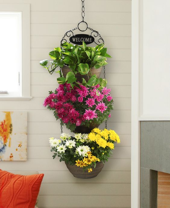 triple layers of decorative plants on hanging pots