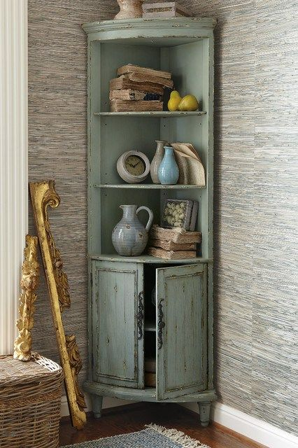 vintage corner cabinet with display section