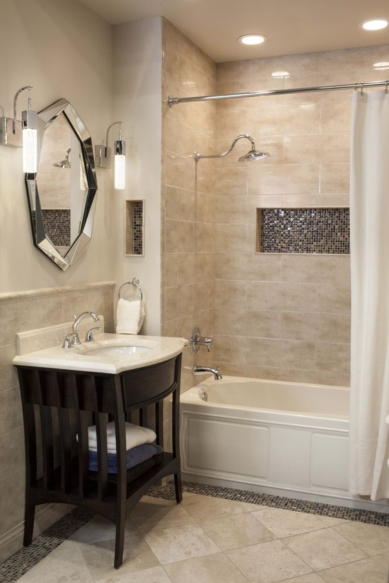 warm look small bathroom idea cork flooring idea pastel tiles walls white bathtub white shower curtain small bathroom vanity with marble countertop and undermount sink decorative wall mirror