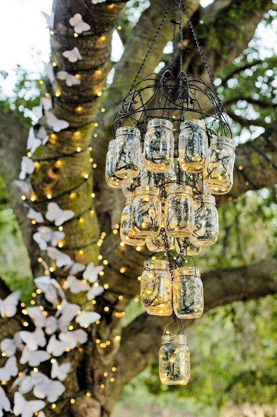 DIY Mason jar chandelier for gardens and backyards