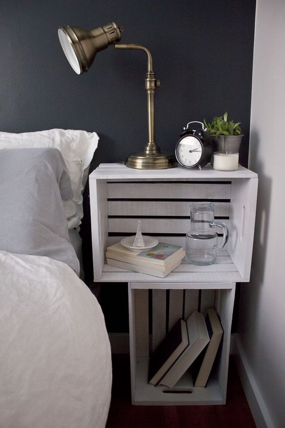 DIY crates made nightstand in white