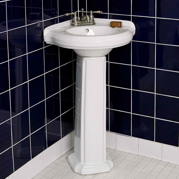 Gaston corner sink in white blue tiles walls white tiles floors