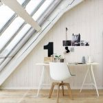 Nordic Style Home Office In Attic Super Giant Skylight With Trims Tiny White Working Desk Nordic Style Chair With Wood Legs Vertical Wood Board Walls Light Wood Floors