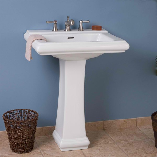 Royal pedestal sink design in white for modern bathroom
