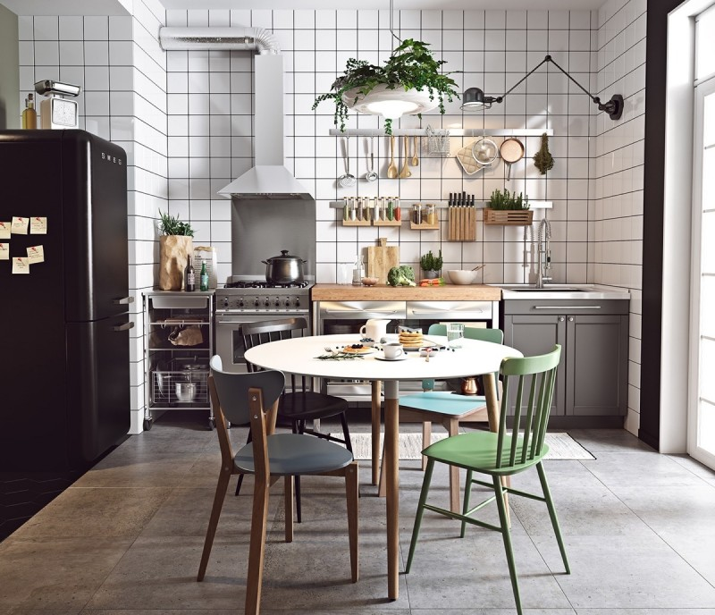 Scandinavian kitchen model gray cabinets stainless steel concrete tile floors white ceramic backsplash mismatching schoolboy chairs small hanging plants