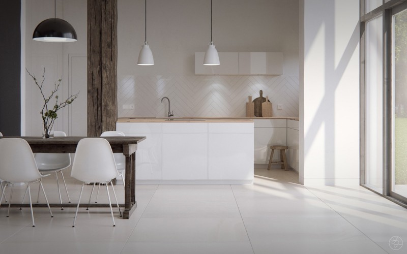 Scandinavian kitchen with rustic feel rough & unfinished interior pillar and table white Scandinavian chairs white flat paneled cabinetry light wood countertop white pendants white floors