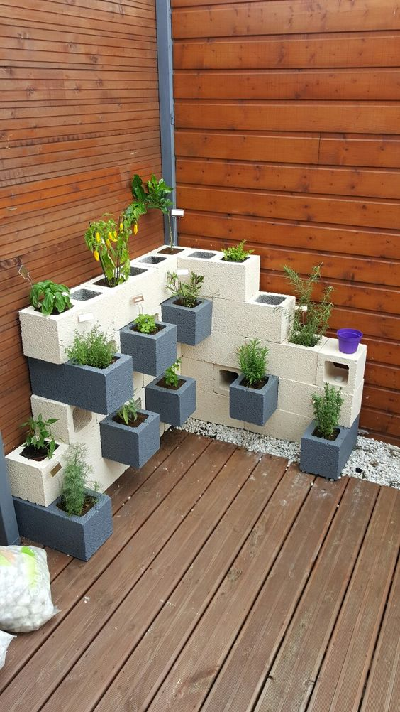 cinder block made planters for outdoor wood exterior