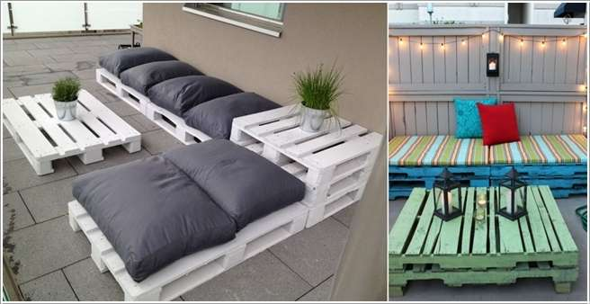colored pallet outdoor seats with cushion addition