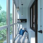 Cozy Reading Nook In Enclosed Balcony Light Floor Seat With Throw Pillows Simple Floating Book Rack Modern Pendants