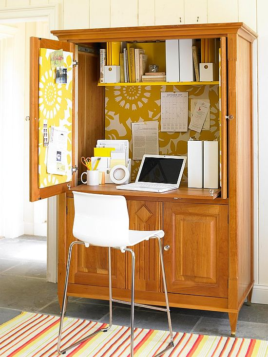 effective space home office wooden armoire with yellow wallpaper tiny working chair in white