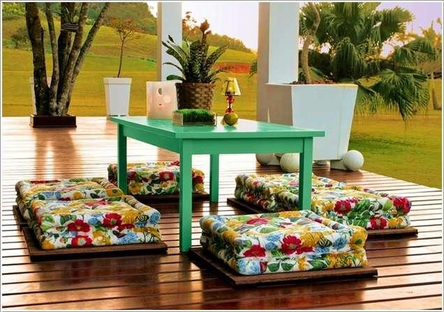 flower print floor pillows green center table gloss finishig wood board flooring idea