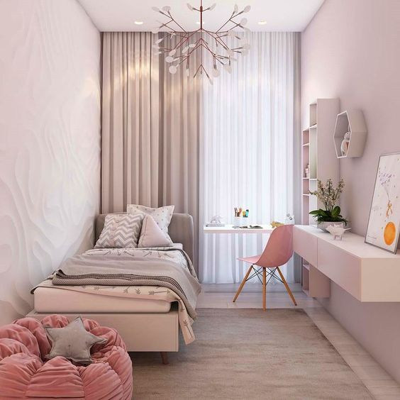 light, clean, and modern bedroom design floating working desk scandinavian style chair in pink smaller bed frame with headboard light pink rose shape bean bag light gray fabric rug creative chandelier