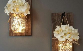 mason jar planters with sparkling light inside