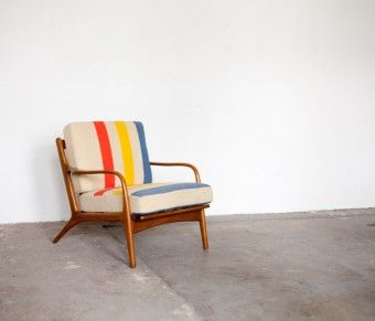 mid century modern style chair with colorful stripes