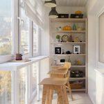 Mini Home Bar Design In Small Enclosed Balcony Light Wood Bar Stools Simple Display Rack