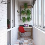 Mini Home Office In Enclosed Balcony Small Working Desk Scandinavian Style Chair In Red Mutlicolored Tiles Floors Wall Mounted Rack With Ornate Greenery White Washed Brick Walls