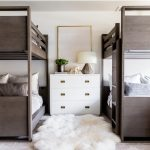 Modern Bunk Bed In Dark Brown Color White Nightstand Gold Framed Wall Decor White Shag Rug Patterned Textile Rug