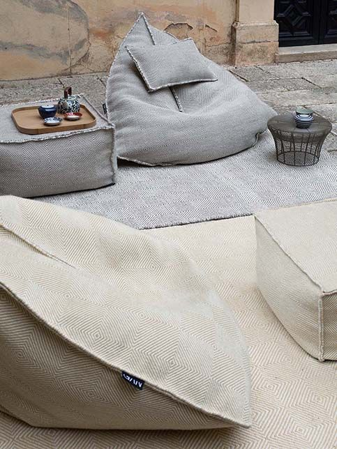 outdoor sail like beanbag or pouf in gray