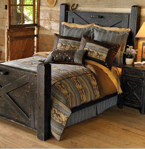 rustic bedroom design black rustic bed frame with headboard dark mustard bedding treatment wood floors wood slat walls