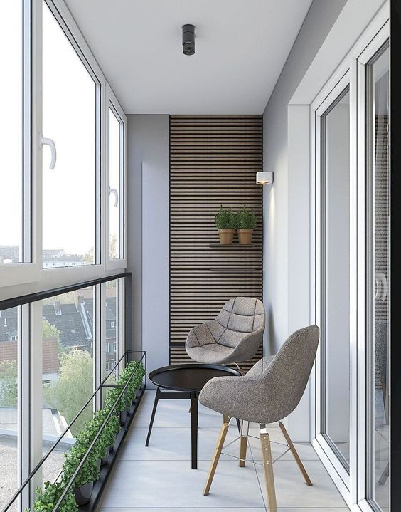 scandinavian style balcony with glass screen custom line of potted plants a pair of scandinavian style chairs