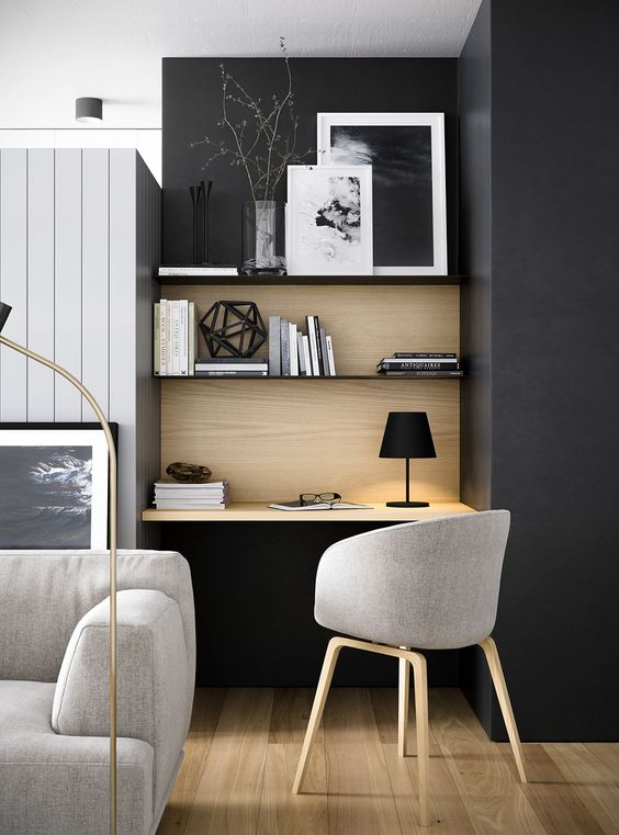 semi formal home office in black formal working chair wood floors