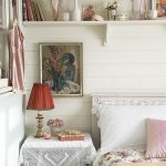 Shabby Chic Bedroom Idea White Lace Table Cover & Pillowcase Single Shelf Vintage Table Lamp