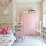 Shabby Chic Girl's Room Pink Closet Ballerina Themed Wallpapers White Wood Board Floors Flower & Heart Prints Bedding Treatment And Pillows