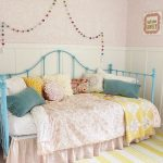 Shabby Chic Kids' Room Baby Pink Wallpaper White Wainscoting Blue Daybed In Traditional Style Yellow And Baby Pink Blankets Colorful Throw Pillows Modern Striped Area Rug In Yellow White