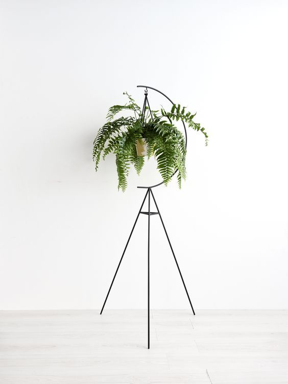 tripod plant stand with hanging greenery