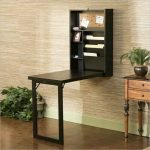 Wall Mounted & Folded Desk In Black Wooden Hall Console Table