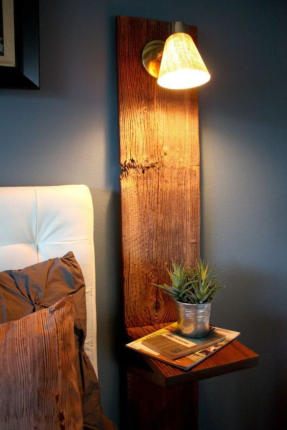 wall mounted wood nightstand with integrated sconce