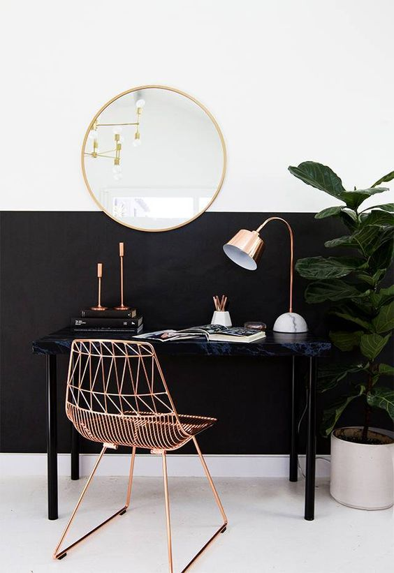 half black white wall design black table copper like chair round shaped wall mirror with gold toned frame