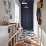 Herringbone Tiles In Three Colors Floor Book Shelves In White Navy Blue Door White Walls