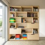 Large Size Wood Bookshelf With Closed And Door Less Sections