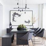 Minimalist Dining Room Dark Gray Dining Furniture Dark Gray Hall Buffet Monochromatic Painting Light Wood Floors