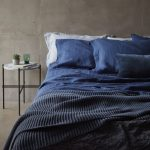 Modern Industrial Bedroom Design Deep Blue Bed Linen And Pillows Brighter Pillows Textured Blanket