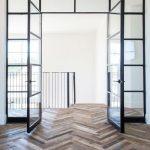 Reclaimed Herringbone Tiles For Floors Black Finish Steel Door With Glass Panels