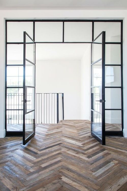 reclaimed herringbone tiles for floors black finish steel door with glass panels