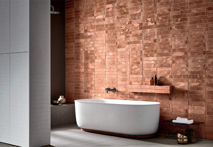 red brick like tile walls white bathtub shower tray in black