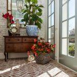Rustic Brick Flooring Idea With Herringbone Pattern And Whitewashed Finish