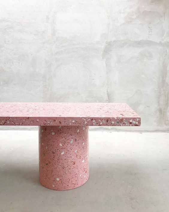 simple concrete bench seat with pink terrazzo finish