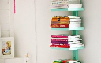 simply vertical bookcase in turquoise