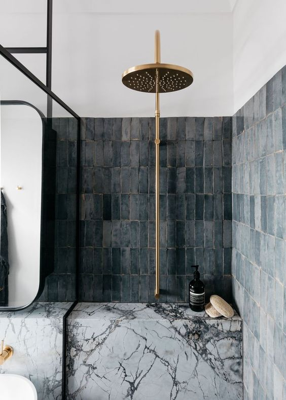 small bathroom design vertical subway tile walls in darker gray