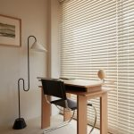 Ultramodern Home Office Light Wood Working Desk In Modern Style Ultramodern Working Chair With Best Black Leather Cover And Chrome Support Unique Shaped Floor Lamp