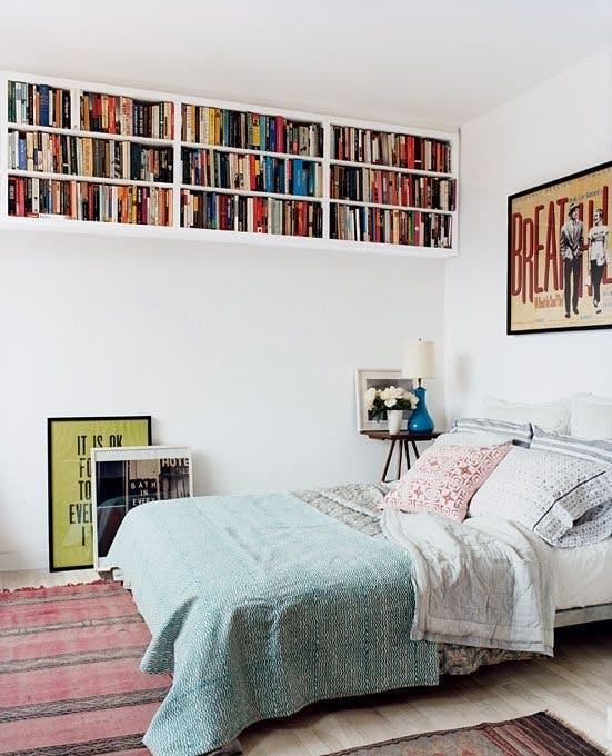 upper wall mounted bookshelves idea