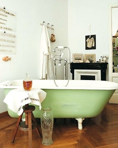 vintage style bathroom design vintage bathtub in green wooden stool wooden herringbone tile floors