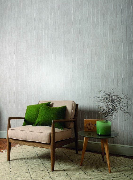 white & textured wallcovering idea wood framed chair with mocca upholstery round top side table in midcentury modern style
