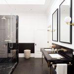 Dark But Beautifully Dramatic Bathroom Walk In Shower With Glass Door Black Marble Shower's Floors Black Marble Top Bathroom Vanity With Double Sinks And Double Mirror Wicker Basket